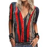 Mayntop Camiseta para mujer, de verano, otoño, de corte bajo, vintage, manga corta, estilo bohemio, estilo étnico, blusa, A-rojo, 42