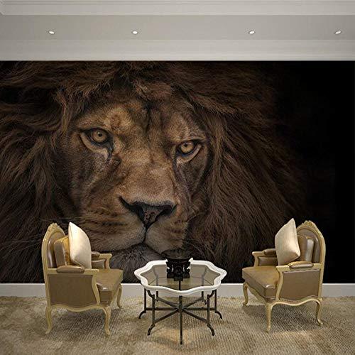BHXIAOBAOZI Eigen 4D muurschildering groot wallpaper, vintage wilde gele leeuwen, moderne Hd zijde muurschildering poster afbeelding TV sofa achtergrond muur decoratie voor woonkamer 140cm(W)×70.5cm(H)|4.59×2.29 ft