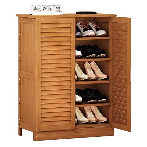 QYN Bambú Simple Gabinete del Zapato,Multi-Capa De Madera Maciza Zapatero Ensamblaje De Gran Capacidad Zapatero Polvo Caja-d 80x33x87cm(31x13x34inch)