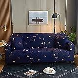 WXQY Sala de Estar Chaise Longue Funda de sofá elástica Impresa con Todo Incluido, Funda de sofá Antideslizante, patrón de Hojas Brillantes A12 4 plazas
