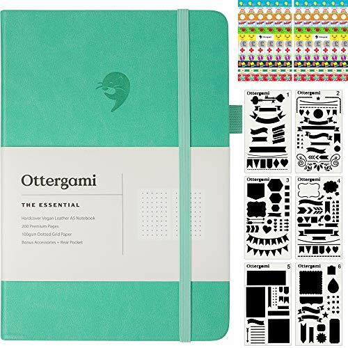 Bullet Carnet Pointillé Journal | Carnet de Notes + Pochoirs et Autocollants Bonus | The Essential de Ottergami (Sarcelle)