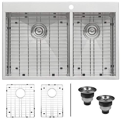 Ruvati 33 x 22 Inch Drop-in 60/40 Double Bowl 16 Gauge Zero-Radius Topmount Stainless Steel Kitchen Sink