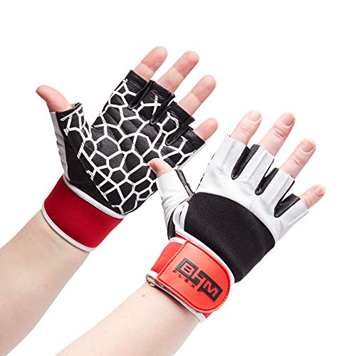 Workout Gloves - Women/Men Lightweight Leather Gloves - Sports/Gym/Weightlifting/Cycling/Exercise/Training/ Wrist Wraps Glove - Support Equipment Full Palm Protection Power Grips… (White, X-Large)