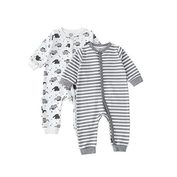 Zanie Kids Unisex Baby Long Sleeves Full Prints Romper Spring Autumn Cotton Outfits Onesies 2-Pack
