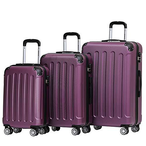 BEIBYE Hartschalen-Koffer Trolley Rollkoffer Reisekoffer Handgepäck 4 Rollen (M-L-XL-Set) (Violett, Set)