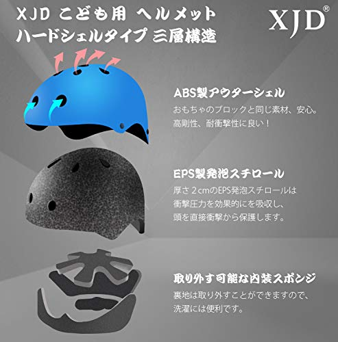 XJDヘルメットこども用キッズプロテクターセット調節可能軽量高剛性通気性スケボーサイクリング保護用子供自転車プロテクター巾着袋付き(ブルー,M:55~57cm)