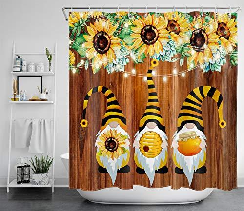 HVEST Duschvorhang-Set mit Frühlings-Sonnenblumen, Wichtel, Bienen, lustig, rustikales Holzbrett, Vintage-Blumendesign, Duschvorhang-Set für Badezimmer, 183 x 198 cm, wasserdichter Stoff mit Haken