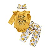 Infant Baby Girls Rompers Outfits Long SleeveLetter PrintedBodysuits + Floral Halen Pants with Headband 3Pcs Clothes Set(6-12M)