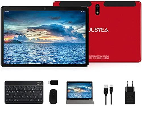 Tablet 10.1 Pollici Android 10.0 Tablets Ultra-Portatile - RAM 4GB | 64GB Espandibile(Certificazione GOOGLE GMS) -JUSYEA - 8000mAh Batteria - WIFI —Mouse | Tastiera e Altro - Rosso