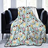 ice cream bar couch - dsdsgog Flannel Throws Blankets Durable Bed Couch Ice Cream,Cute Cupcakes with Face Figures and Cone Bars Creative Funny Caricature Image,Multicolor,60