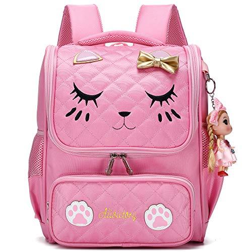 Cartella Scuola Ragazza,Zaino per ragazze scuola per scuola elementare Zaini per gatti scuola ricamo per bambini (Rosa, L)
