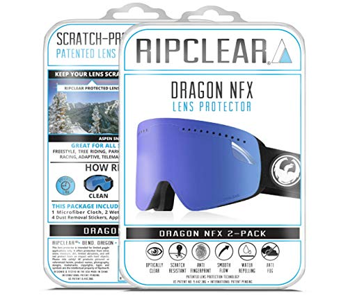 RIPCLEAR Lens Protector for Dragon NFX Goggles - Protect Your Lens from Scratches While You Ride, Crystal Clear USA Military Grade Protection, 2 Pack