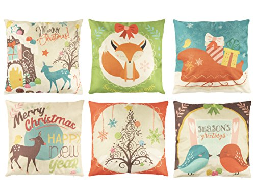 Juvale Animal Christmas Throw Pillow Covers (18 x 18 in, 6 Pack)