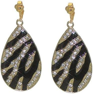 LUNASA Gold plated Black Crystal Clip On Earrings
