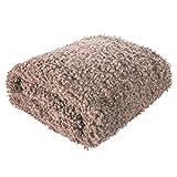 Eurofirany Decke Tagesdecke Wohndecke Flauschig Haariges Fell Fellimitat Weich Wohnzimmer Schlafzimmer Couchdecke Sofadecke Überwurf, Puder, 150x200cm