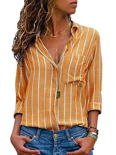 Onsoyours Damen Bluse Elegant Hemdbluse V-Ausschnitt Button Down Shirts Lose Casual Langarm Tunika Tops mit Brusttaschen C Gelb 42(XXL)