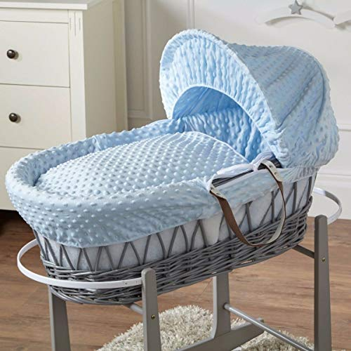 FYLO Blue Dimple Grey Wicker Moses Basket