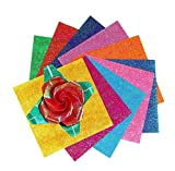 50PCS Assorted 10 Colors Shiny Single Sided Squared Handmade Folding Fold Origami Paper Iridescent Flicker Hologram Paper for Beginner Kindergarten Handmade DIY Accessories(6inch x 6inch)