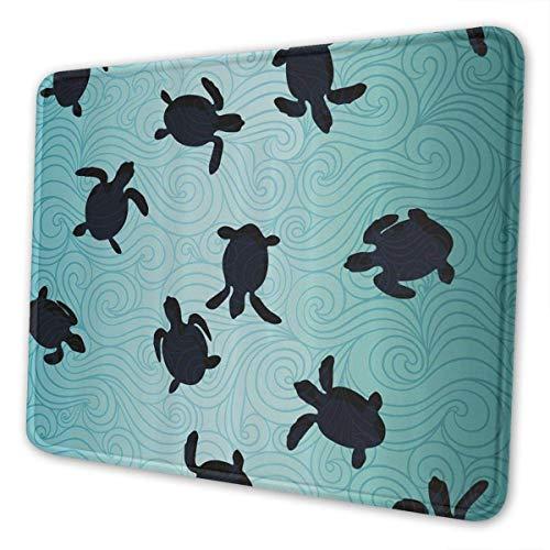 Mausepad Marine Baby Meeresschildkröten Schwimmen Silhouette Spielmatte Mousepad Computer Rechteck Bürozubehör Rutschfeste Bunte Gummi Laptop Schreibtisch Dekor 3 Größen Benutzerd 20X24cm