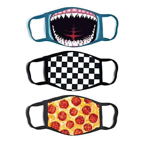 ABG Accessories Boys' 3-Pack Kid Fashionable Germ Protection, Reusable Fabric Face Mask Age 4-14, Shark Design, Boys-4-14
