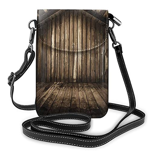 Women Small Cell Phone Purse Crossbody,Old Wooden Rustic Home Cottage Rural Countryside Grunge Rusty Indoors