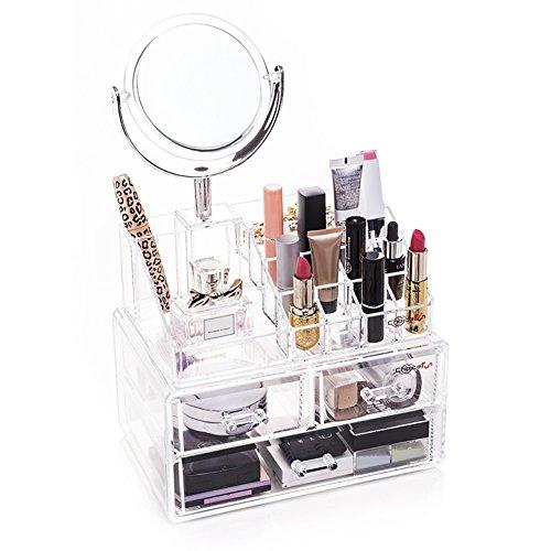 Oxid7® Organizer für Kosmetik Acryl | Aufbewahrungsbox für Make Up und Schmuck | Schmuckkästchen | Schubladenbox Schminke - 37,5x24x17 cm - 16 Fächer + 3 Schubladen und Spiegel mit Vergrößerung