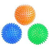 Orgrimmar 3 Pieces Pet Squeaky Chewing Balls Dog Soft Stab Balls Cleaning Teeth Toys Balls with High Bounce for Medium Large Pet Dog Cat (9.0cm)