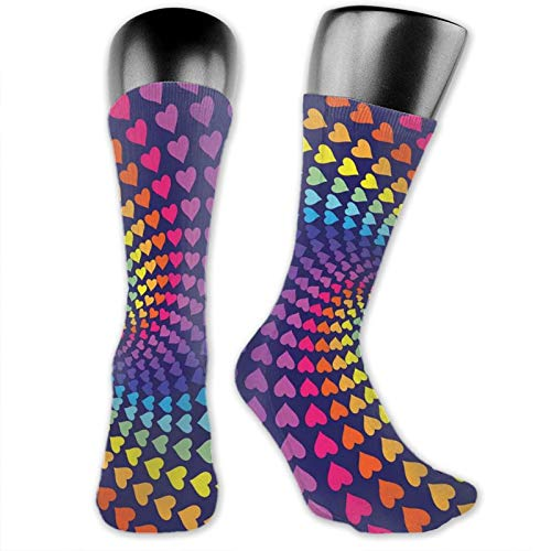 Moruolin Socks Cute Funny Cotton For Summer,Whirlpool Of Little Hearts In Rainbow Colors Retro Style Psychedelic Love Romance,Running Outdoor Recreation,Trainer Socks for Men and Women