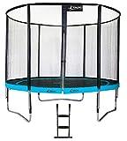 Kangui - Trampoline de Jardin Rond 305 cm + Filet de sécurité + échelle PUNCHI Bleu 300