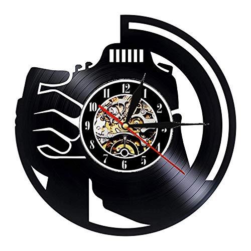 LKJHGU Fotografía Vinilo Reloj de Pared Estudio de diseño Moderno Colgante de Pared Arte Retro Disco de Vinilo Reloj Reloj de Pared