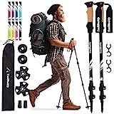 TrailBuddy Lightweight Trekking Poles - 2-pc Pack Adjustable Hiking or Walking Sticks - Strong Aircraft Aluminum - Quick Adjust Flip-Lock - Cork Grip, Padded Strap - (Raven Black)