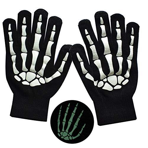 MELOP Unisex Vollfinger-Handschuhe Skelettmuster Glow in The Dark Halloween Totenkopf-Knochen-gemusterte gestrickte Touchscreen-Handschuhe