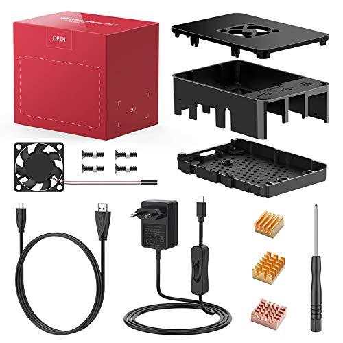 Bqeel PC Gehäuse Zubehör für Raspberry Pi 4 mit Lüfter Kühlung/ 3 Aluminium Kühlkörper/ 5V 3A USB-C Netzteil mit EIN/Aus Schalter für Raspberry Pi 4 Modell B