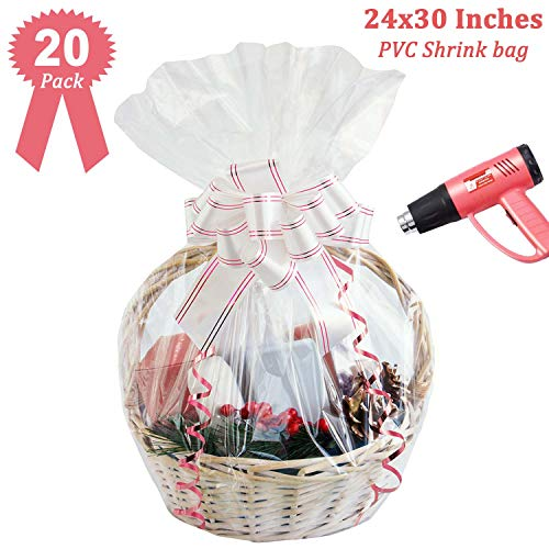Clear Basket Cellophane Wrap Bags Shrink Wrap Bags Extra Thick 2 5mil Cello Bags For Gift Baskets 24x30 Inch 20pack