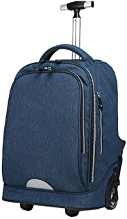 NSHUN Fashion Men and Women Youth Trolley Bag Spinner Carry-On Luggage with Wheels Suitcase Double Shoulder (Color : Blue)