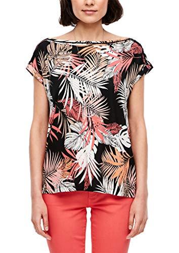 s.Oliver Damen Shirt mit Allover-Printmuster Black floral Print 42