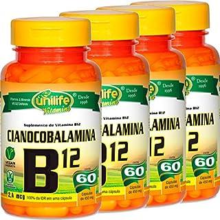 Kit com 4 Frascos de Vitamina B12 Cianocobalamina Unilife 60