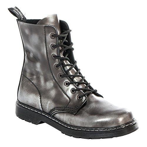 Boots & Braces - Easy 8-Loch Silver Rub-Off schwarz Stiefel Rangers Schwarz