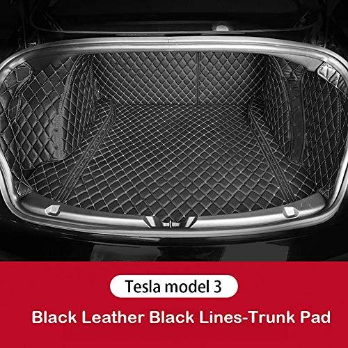 HYNB Koffer mat lederen opbergdoos achter All-inclusive ontwerp Past ademend en geurloos voor Tesla Model 3 2016-2019, beige-lijn, helemaal zwart