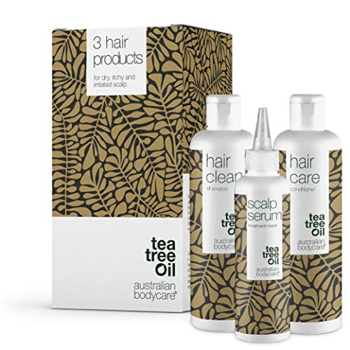 Australian Bodycare Scalp Treatment Set of 3 | Tea Tree Oil Scalp treatments for Dry Itchy Flaky Scalp & Hair, Dandruff and Spots | Inside: Scalp Serum 150ml + Shampoo 250ml + Conditioner 250ml