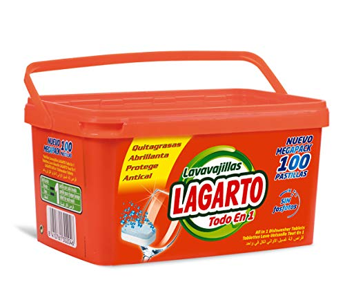 Lagarto Pastillas Lavavajillas Todo En Uno-100Uds, Compuesto, Blanco, 13x16x25 cm, 100
