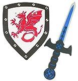 Das Kostümland Foam Knight Set con Dragón - Espada y Escudo para niños - Traje Medieval para niños Carnaval de cumpleaños