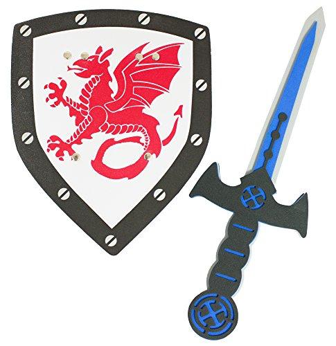 Das Kostümland Schaumstoff Ritter Set mit Drachen - Schwert und Schild für Kinder - Mittelalter Kostüm zu Kindergeburtstag Fasching Spielen