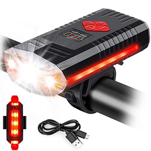 MOSFiATA Luce per Bicicletta USB con Campanello, 3 LED 1000 Lumen Luce per Bicicletta al Litio Luminosa da 1200 mAh, Luce Anteriore LED Impermeabile IPX4
