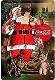 Nostalgic-Art Cartel de chapa retro Coca-Cola Classic Santa – Idea de regalo aficionados a la Coke, metálico, Diseño vintage decorativo, 20 x 30 cm