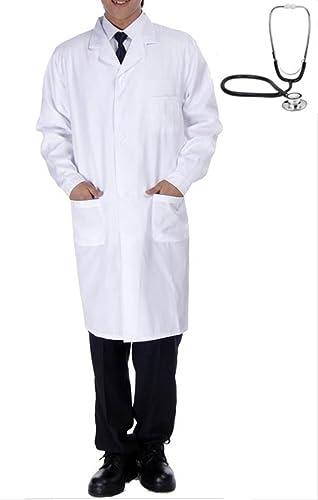 [Laecheln meisten] Maenner Doktor Cosplay langaermeligen Pruefung Kleidung authentisch Weißsen Mantel der Maenner lange Laenge Ein-Knopf mit Weißsen beide Seiten Tasche Groesse [set] Weißsen Mantel Stethoskop   Kostuem Halloween [A115-03] (2. L-Groesse)