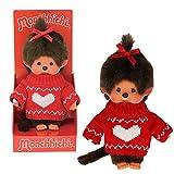 Sekiguchi 252756 - Original Monchhichi Mädchen, aus braunem Plüsch, mit rotem Strickpullover und roter Schleife im Haar, ca. 20 cm
