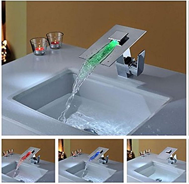 Robinet de lavabo à changement de Farbe LED (3 Farbes), finition chromée