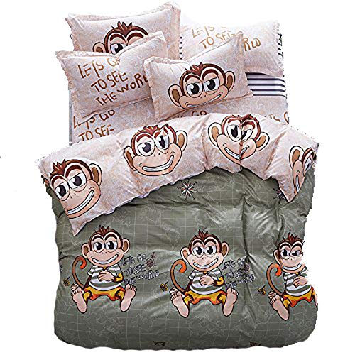 Bed Set 4pcs New Prints Bedding Set No Comforter Duvet Cover Set Twin 60'x80' Sheets Set Flat Sheet Duvet Cover Pillowcase Naughty Monkey Green for Girls Kids Adults Teens (Twin, Naughty Monkey)