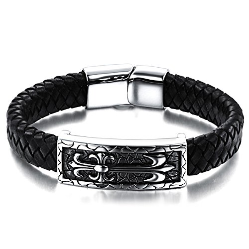 JewelryWe Schmuck Herren Männer Armband, Leder Edelstahl, Retro Lilie Fleur de Lis Kreuz Breit Armreif, Schwarz Silber